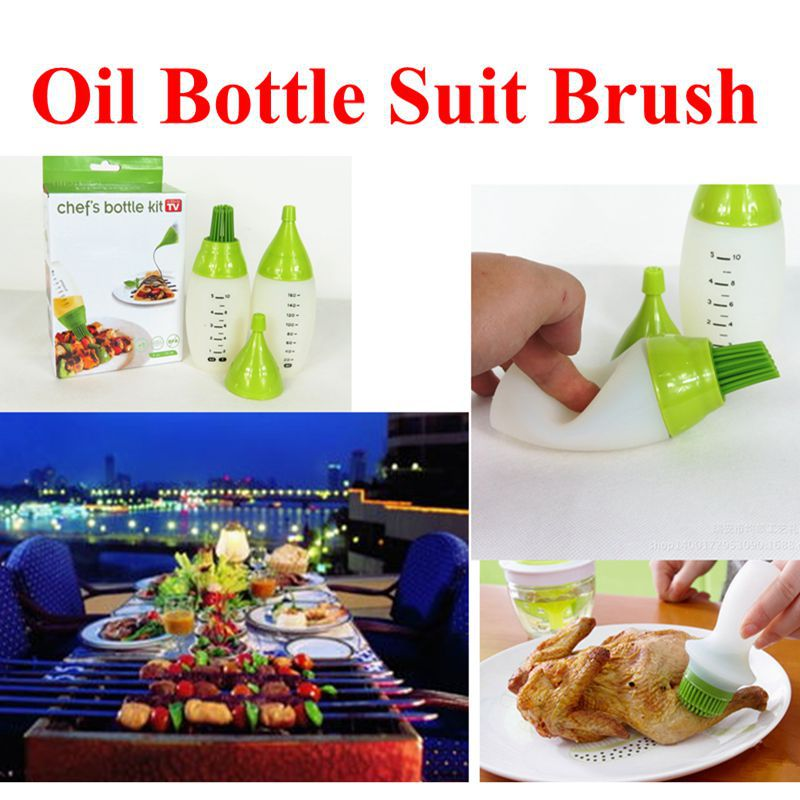 Wholesale cheap BBQ Oil brush basting brushes Kitchen supplies oil bottle barbecue baking Oil brush silicone brush