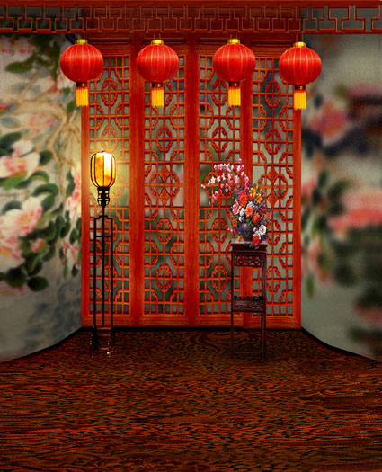 Wholesale 5x7ft photography backdrops background Red lanterns red wood lattice screens CM