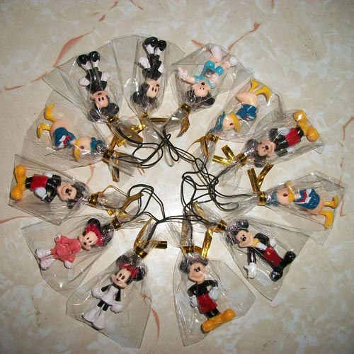 Cheap free shipping mix order mickey mouse pvc Figure Cell Phone Strap keychain (100pcs lot)b1526