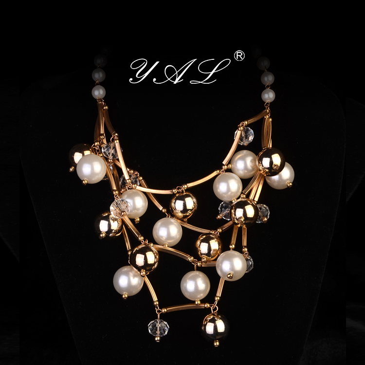 pearl choker necklace - Yaljewelry Fashion Pearl Necklaces Pendants Transparent Multilayer Crystal beads Pendant Women Dressing Charms Luxury Choker handmade