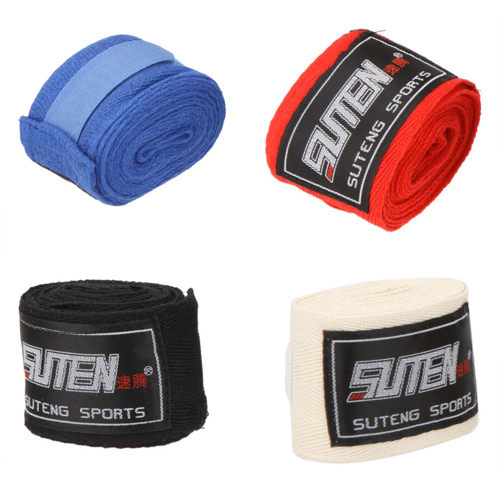 Wholesale 2pcs roll Width cm Length M Cotton Sports Strap Boxing Bandage Sanda Muay Thai MMA Taekwondo Hand Gloves Wraps set Y0012