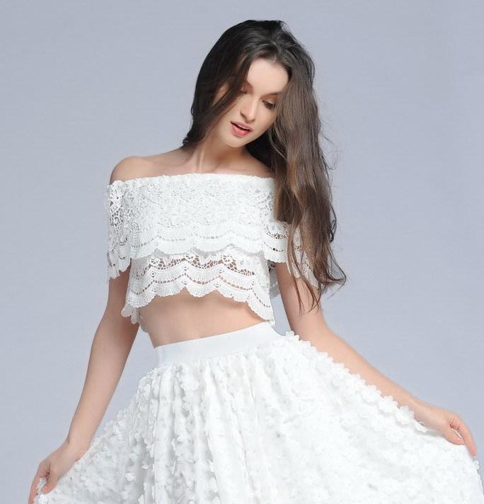 Wholesale 2015 Lolita Crochet Lace Tops Cropped praia Woman Summer blusas camisole vest wear praia strapless off shoulder tshirt clothing
