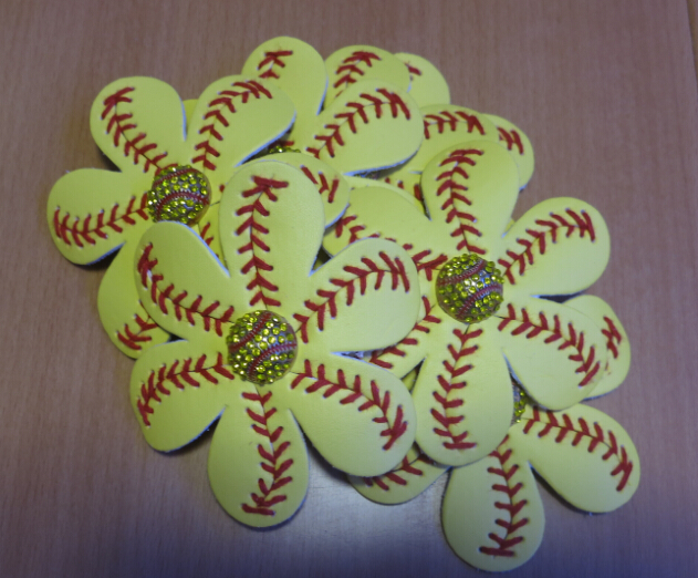 Wholesale Softball Flower Hair Clip and Accessory Softball Hair Bows Softball Leather Flower