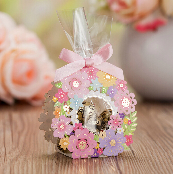 Wholesale 2015 New pieces multicolor candy box Baby shower Party gift box for guest wedding supplies chocolate box with pink ribbon