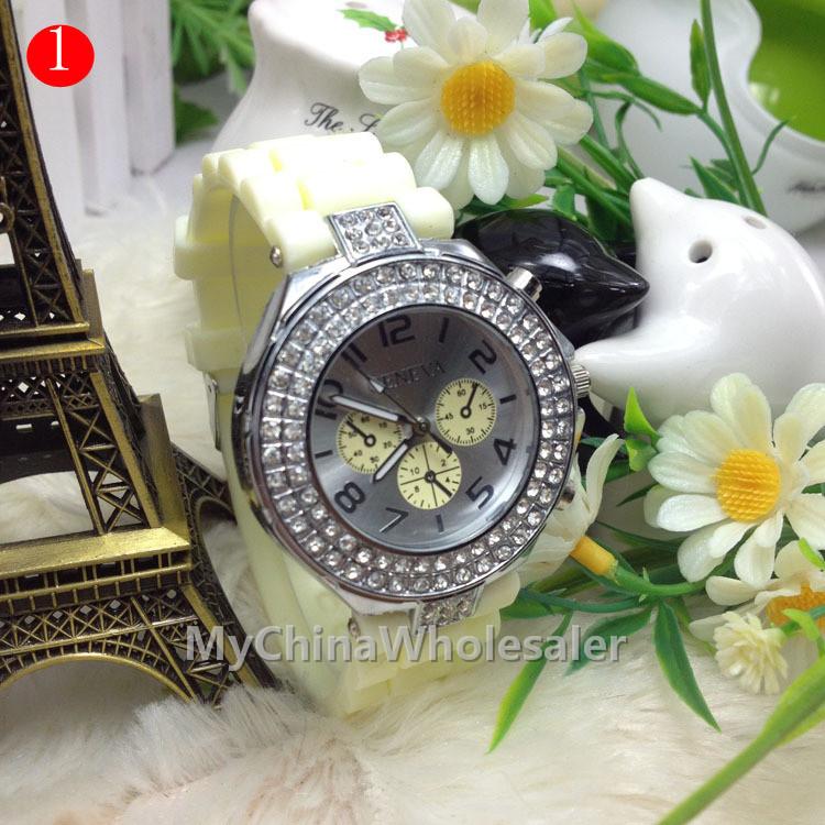 New Shadow Rose-Gold Colored Style Geneva Crystal Watch Rubber Silicone Rhinestone Fashion Men Women Silicone Quartz Watches