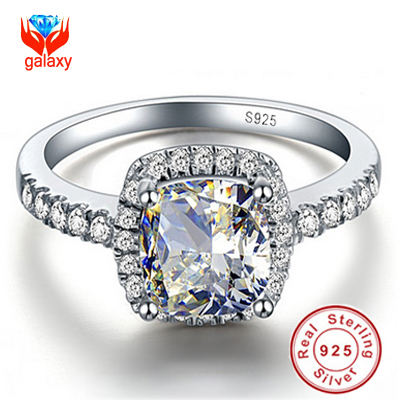 ring size 4 - 100 Sterling Silver Big ct CZ Diamond Crystal Wedding Rings For Women Fashion Jewelry Engagement Ring SIZE JZ1688