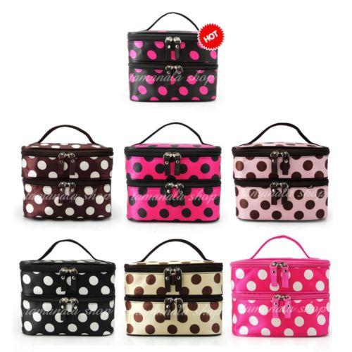 Wholesale HO US Women Portable Cosmetic Retro Dot Pattern Mirror Beauty Makeup Bag Case color for choose