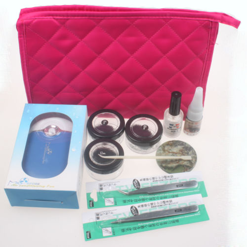 eyelash extension kit - HOT False Eyelash Air Conditioning Fan Glue Remover Lashes Tool New Extension Bag Grafted eyelashes kits