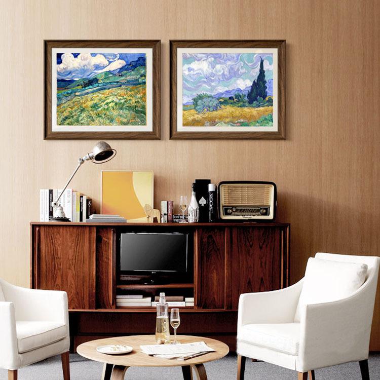 домашний декор 2 панели искусства пейзаж холст картины Уитфилд и горы, c.1889 с кипарисами c.1889 Винсент Ван Гог