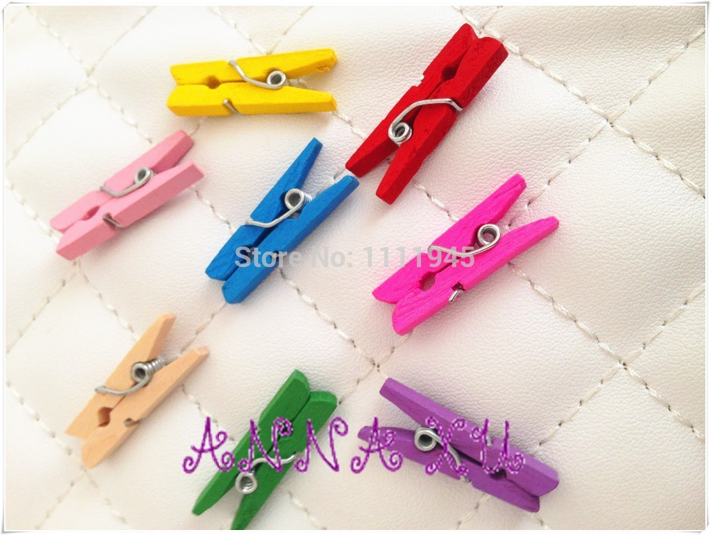 Wholesale Red Dyed Retail Craft Mini mm Wooden Clothes Photo Clips Wood Peg drop shipping