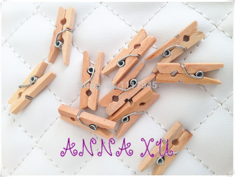 Wholesale burlywood Dyed Retail Craft Mini mm Wooden Clothes Photo Clips Wood Peg drop shipping
