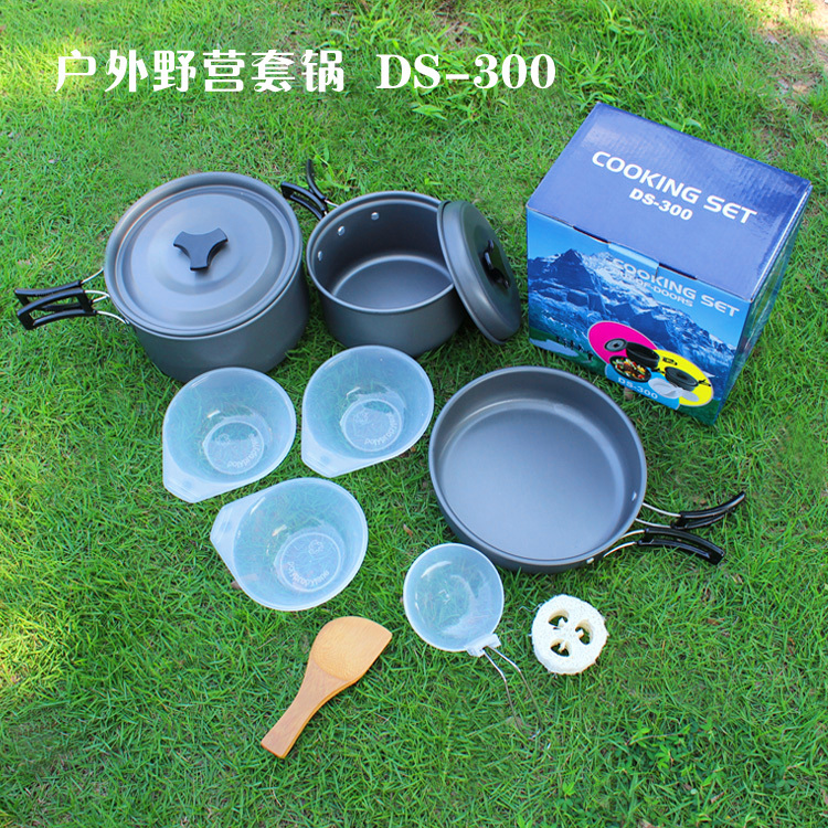 Wholesale set Outdoor Camping Hiking Cookware Backpacking Cooking Picnic Bowl Pot Pan Set Outdoor Tableware person