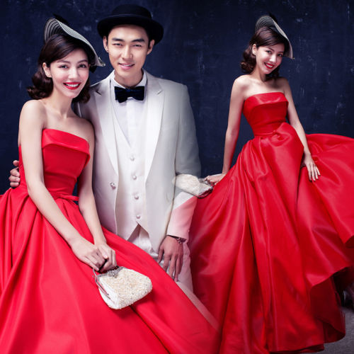 Wholesale New Red Strapless Evening Dresses Formal Prom Party Pageant Wedding Photo Studio