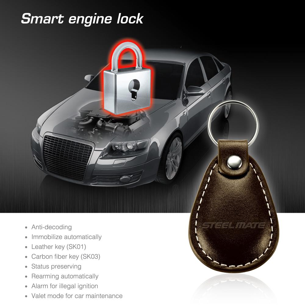 alarm decode - Steelmate SK01 Waterproof Car Alarm System Anti Decoding Car Engine Lock with High Grade Leather Smart Keys K2801