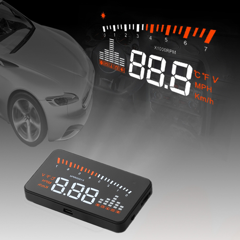 Wholesale X3 Universal Car HUD Alarm System Head Up Display KM h MPH Speeding Fuel Warning Windshield Project Car Detector OBD Interface K3071