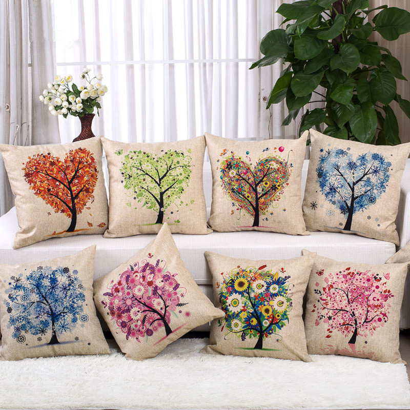 home furniture decoration - Love Tree Cushion Hot Sale Colourful Heart Plant Printed Linen Cojines For Sofa Furniture Home Decoration