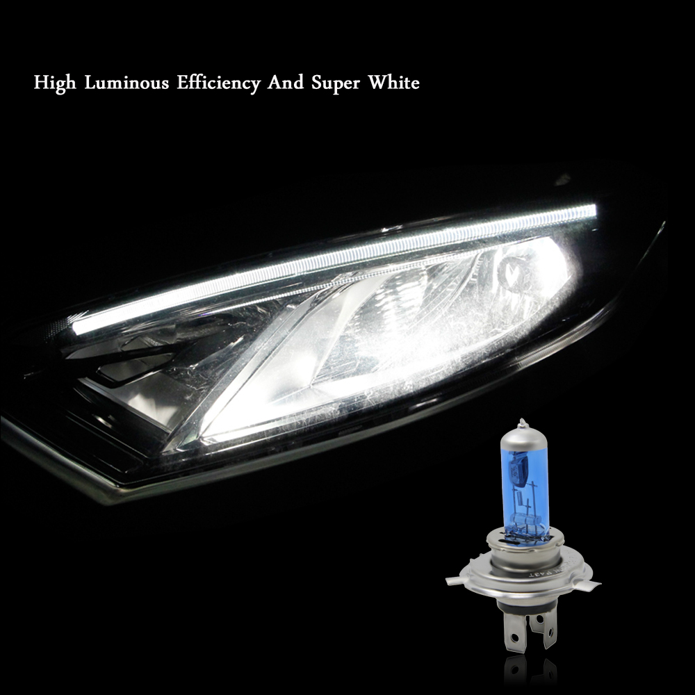 2Pcs 60 / 55W H4 Halogen Light Vehicle phares phare de voiture ampoule lampe Super White Source 5000K K3126