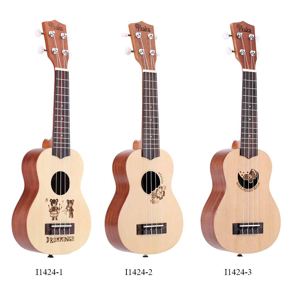 Wholesale KaKa KUS DR High Quality Strings Ukulele Durable quot Soprano Ukelele with Strap Lock Buttons and Thick Bag I1424