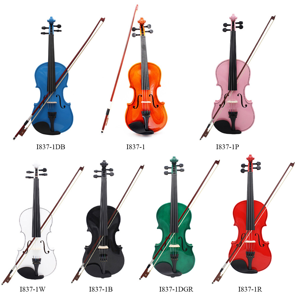 Wholesale 4 Violin Fiddle High Quality Basswood Body Steel String Arbor Bow Rosin Bridge Stringed Instrument Musical Toy colors I837