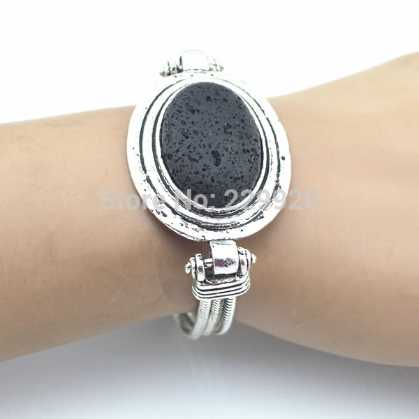 Wholesale B1222 Natural Lava Rock Volcano Stone Bracelet Stone Vintage Look Volcano for Cuff bracelet bangle nice gift for women
