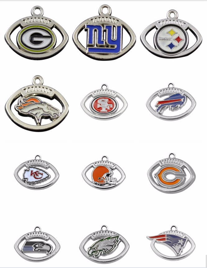 Wholesale New Arrivals rhodium plated new coming styles mix order enamel football sports team logo charms