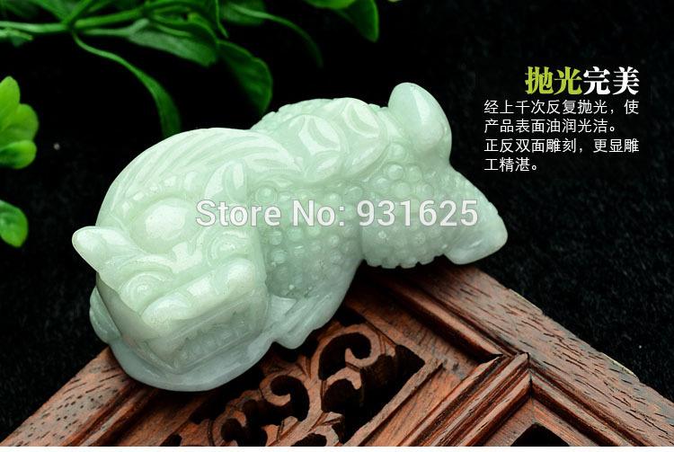 burma natural jade - Genuine natural emeralds burma jadeite carving Unique PiXiu lucky Pendant Necklace jade pendants patron saint Fashion Jewelry