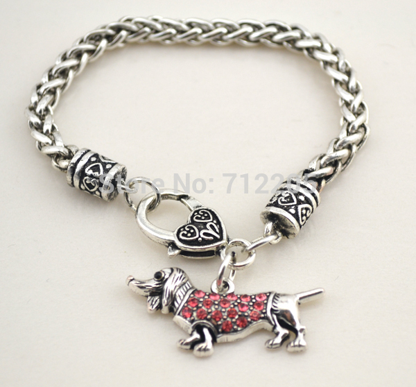 Wholesale Crystal Dogs Hot sales Wheat Link Bracelet Chain with crystals Dachshund with Lobster Claw Animal Bracelet