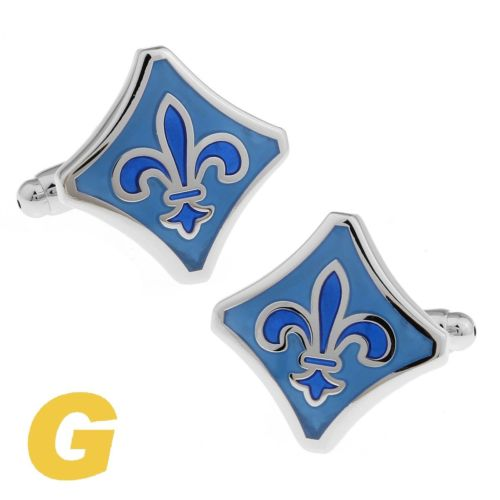 Wholesale High Quality New Classic Silver Copper Mens Wedding Cufflinks Novelty Rare Fancy Enamel Fleur De Lis Clean Cloth