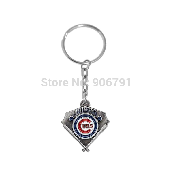 Wholesale New Novelty a Metal Enamel team logo charms Chicago Cubs keychain for the keys