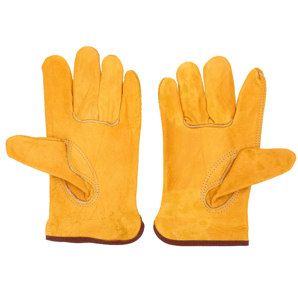 Wholesale Working Protection Safety Welding Leather Gloves Yellow Color Size L Y1467