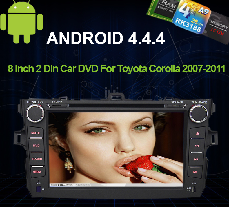 Cheap 2007 2008 2009 2010 2011 Toyota Corolla Android 4.4 Car DVD Recorder Radio GPS BT Phonebook RDS WIFI 3G Mirror Screen OBD DVR Wheel Control