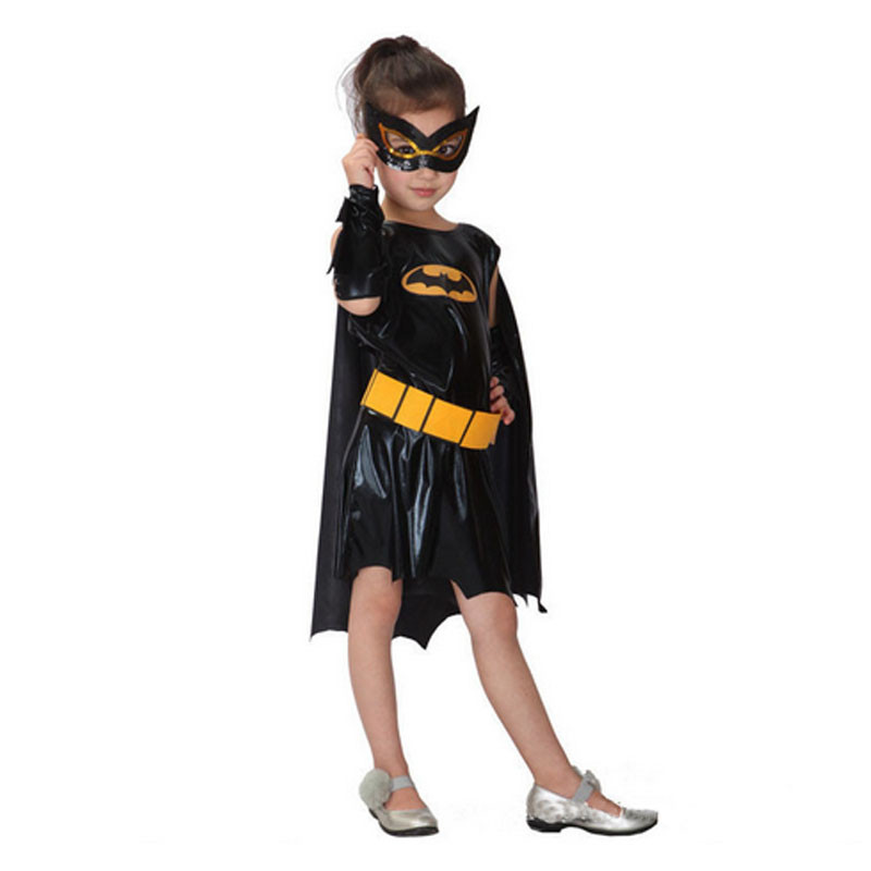 Wholesale Black Batman Girls Kids Heros Costume Halloween Fancy Dress Up Party Gift