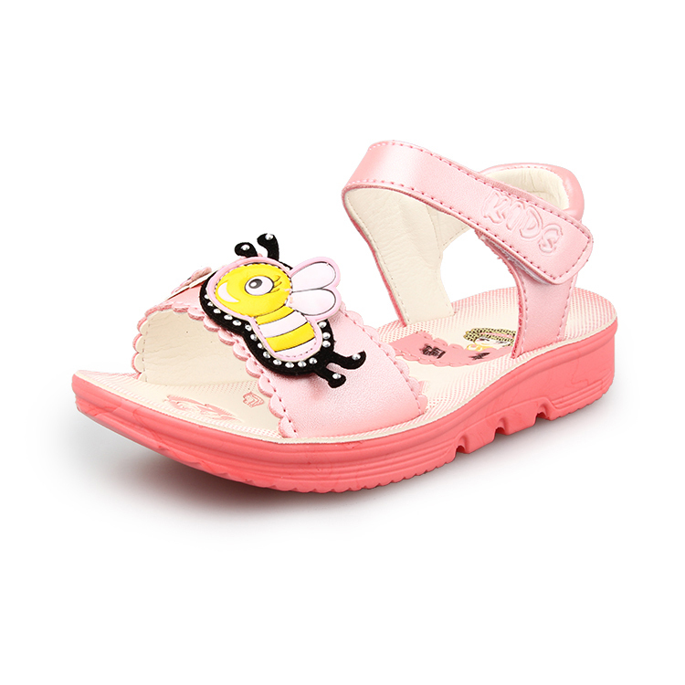 Wholesale 2015 Sweet Bee Summer Sandals Children s Soft Genuine leather Shoes Rubber Girls Kids Sandal Hook Loop velcro High Quality Cheap ZT D723