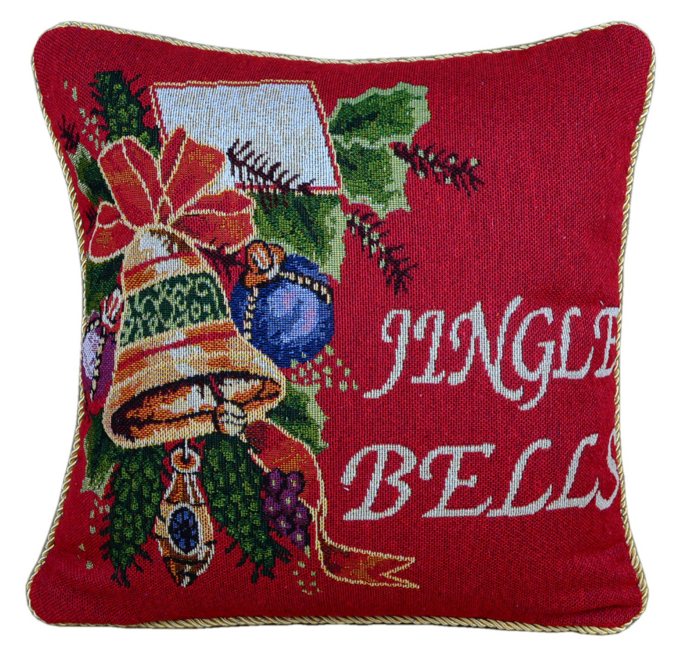 Wholesale Christmas dyed cotton jacquard by pillowcase pillow cover cushion cover Christmas bells
