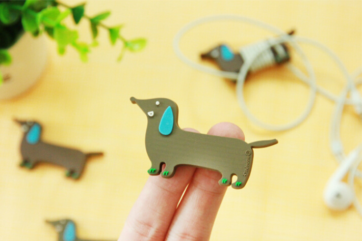 Wholesale Cute Brown dog wrap cable wire tidy earphone winder Organizer holder for headphone MP3 MP4 Ipod cm