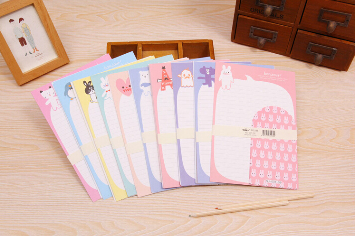 animal writing paper - 40pcs mm Korea small animal sheets letter paper envelope set for student papel writing colored padded envelopes DHL