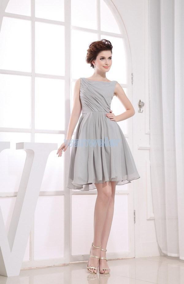 bargain flowers - hot new short bargain price vestido de noiva light grey Bridesmaid Dresses concise elegant prom party dress