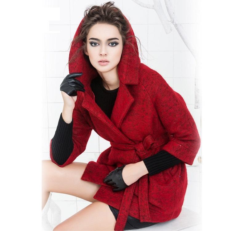 alpaca wool coats - 2016 new winter red alpaca woolen coat woolen coat women Ms