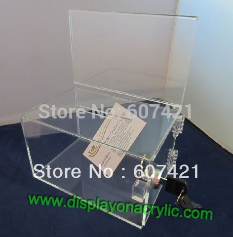 acrylic ballot boxes - Pack units New Transparent Countertop Acrylic Perspex Donation Boxes Container With Lock For Donation Ballot Raffle YDB004