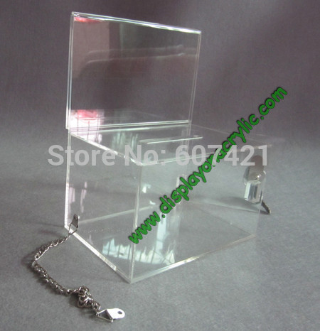ballot box lock - Units Clear Locked Perspex Church Offering Boxes with Stainless Steel Chain For Donation Ballot Raffle YDB