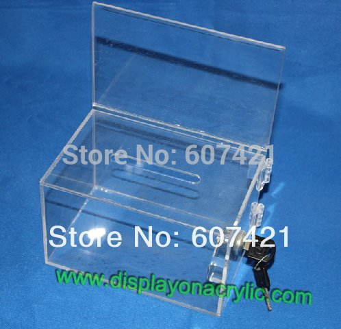 acrylic ballot boxes - Pack of units Clear Premium Acrylic Contest Ballot Boxes with Lock for Contest Voting and Raffle YDB004