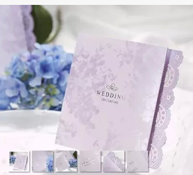 Wholesale Light Purple Romantic Laciness Wedding Cards Elegant Inviting Cards For Marriage Event Party Supplies Casamento