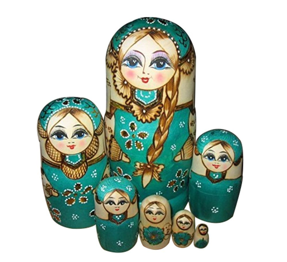 Wholesale New set Wooden Russian Nesting Dolls Braid Girl Dolls Traditional Mat ryoshka Wishing Dolls Gift Green XX022