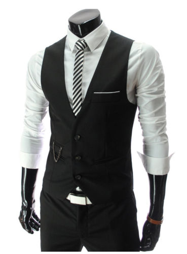 Wholesale 2016 Men Slim V Neck Waistcoat European American Style Single Breasted Mens Vest M XL