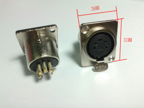 Discount multimedia panel 20PCS 5 pin FEMALE XLR Chassis Mounted Socket panel ADAPTER Connector