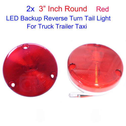 Wholesale 2pcs quot Round Red LED Backup Reverse Tail Light for Truck Trailer Taxi V