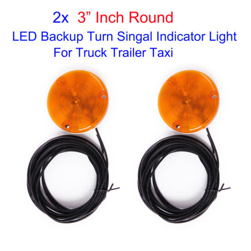 Wholesale 2pcs quot Round Amber LED Warning Indicator Light for Truck Trailer Taxi