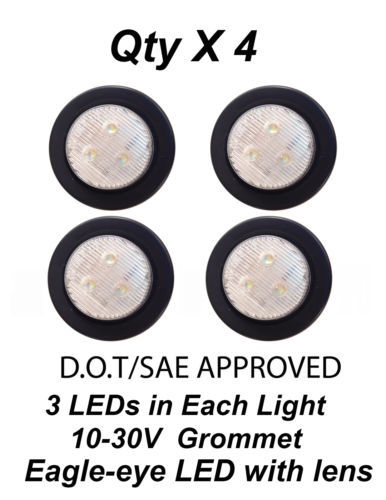 Wholesale 2 inch LEDs White Side Maker Clearance Light w lens Trailer Truck Qty