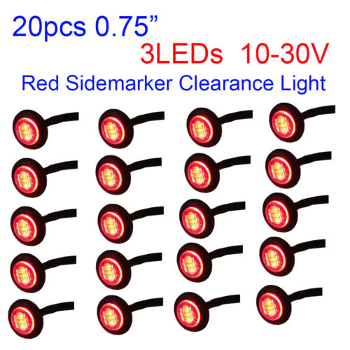 Wholesale 20X quot Round LED Red Trailer Truck Side Marker Light Clearance Lamp V
