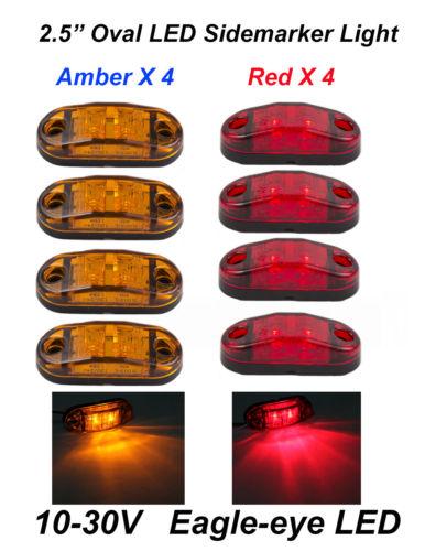 Wholesale 8pcs quot Oval Truck Trailer LED Front Side Rear Marker Lights Red Amber V